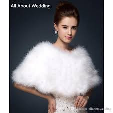 2017 luxurious ostrich feather bridal shawl fur wraps marriage