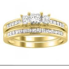 gold wedding ring sets inexpensive diamond wedding set 2 carat princess cut