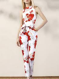 white sleeveless jumpsuit floral turtle neck sleeveless jumpsuit with white jumpsuits