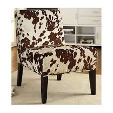 accent chairs for brown leather sofa amazon com cowhide chair armless accent chair imitation cow hide