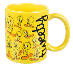 boxed yellow tweety pie collage mug