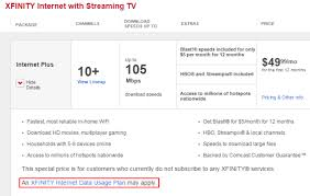 xfinity online light not on comcast displays prominent data usage plan may apply disclaimers