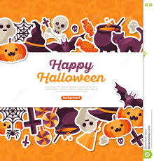 halloween banner with flat icons on orange backdrop stock vector