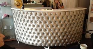 Tufted Reception Desk Quarter Circle Reception Desk Cash Desk French Style With Padded