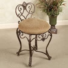 Velvet Vanity Chair Round Brown Velvet Seat Cover Vanity Chair On Brown Metal Base And