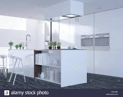 modern clean white kitchen interior with an open plan design and