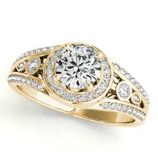 vintage fashion rings images Vintage wide band diamond halo engagement ring 14k yellow gold 1 08ct jpg