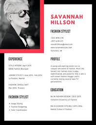 Fashion Stylist Resume Examples by Simple Resume Templates Canva