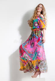 colorful dress beautiful woman in colorful dress stock image image of