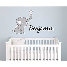 Personalized Wall Decals For Nursery Custom Elephant Name Wall Decal For Boys Baby Boys