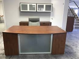 Front Office Desks K Series Glass Step Front Desk By Dynamic Office Services