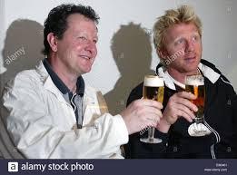 dpa the two german tennis legends boris becker r and