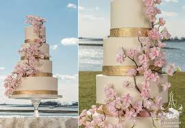 wedding cake nyc cherry blossom wedding cake with gold fondant bands commissioned