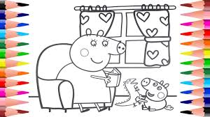 peppa pig coloring pages painting george pig and mummy pig