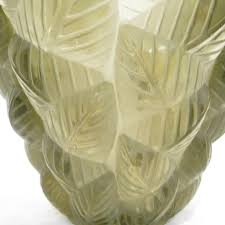 Large Mosaic Vase R Lalique Mosaic Clear And Frosted Topaz Colored Glass Vase