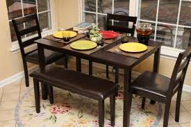 Round Rug For Dining Room Furniture Dark Brown Wooden Dining Set With Benches And Three