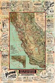 Old World Map Poster by Old California Map California Bicycle Map 1895 Vintage