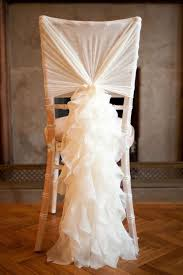 wedding chair sash ivory chair sash for weddings with big 3d organza ruffles delicate