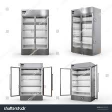 glass door commercial refrigerator 3d rendering stainless steel commercial fridge stock illustration