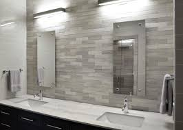 modern white bathroom with sleek gray tile backsplash sleek gray