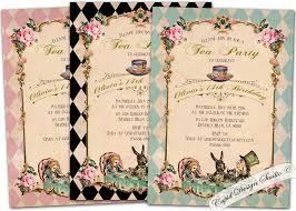 wonderful alice in wonderland birthday party invitations