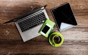 Schreibtisch Pc Büro Schreibtisch Mit Laptop Computer Tablet Pc Planer Stift