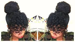 natural hair bun styles with bang curly bangs faux bun natural hair tutorial youtube
