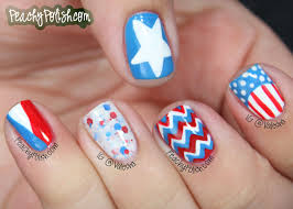 nails of the day 4th of july edition peachy polish