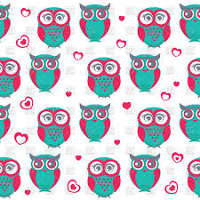 seamless pattern with cute cartoon owls and hearts vector clipart