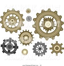 vector clip art of gear cog designs in steampunk style by bnp
