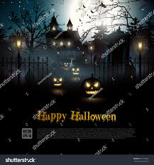 scary graveyard woods halloween background stock vector 312729362