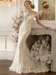 lace over sheer short sleeves illusion keyhole back wedding