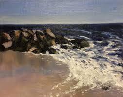 landscape seascape beach waves original oil painting on canvas