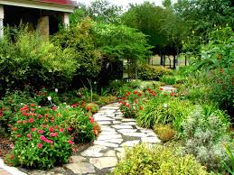 wonderful garden with white paving stone on cement path and pink