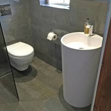 contemporary wet room with vanity furniture kedleston interiors