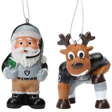 oakland raiders reindeer santa 2 pack ornament set