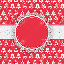 patterned ribbon label with lace border and dotted ribbon on patterned