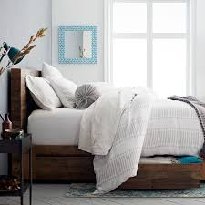 How To Make A Bed With A Duvet Belgian Flax Linen Ikat Stripe Duvet Cover Shams West Elm