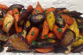 roasted tri color carrots with spiced rum glaze of the