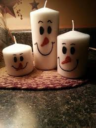 Christmas Craft Fair Ideas To Make - snowman candles use sharpies to make the faces great hostess
