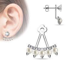 earring jacket rhodium plated brass earring jacket w floral pattern czs
