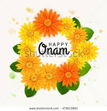 happy onam flower greetings south indian stock vector 475442353