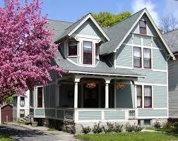 impressing light blue house exterior paint idea withdark brown