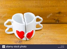 Heart Shaped Mug Heart Shaped Coffee Mug That Can Be Split Into Two Parts Stock