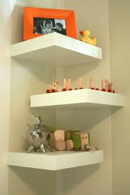 Corner Wall Bookcase Decorations Minimalist White Floating Corner Wall Shelves For