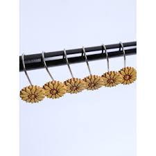 12 pcs sunflower shape resin shower curtain hooks in earthy