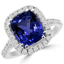 tanzanite wedding rings 3 53ct cushion cut tanzanite halo engagement cocktail ring