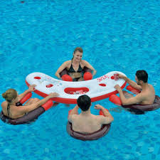 Pool Chairs Inflatable Water Bar Pool Set 4 Floating Seats Chairs Party Table