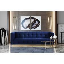 roma navy velvet sofa free shipping today overstock com 24827726
