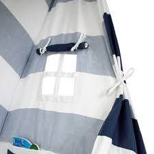 large kids teepee tent navy stripes big enough for the whole